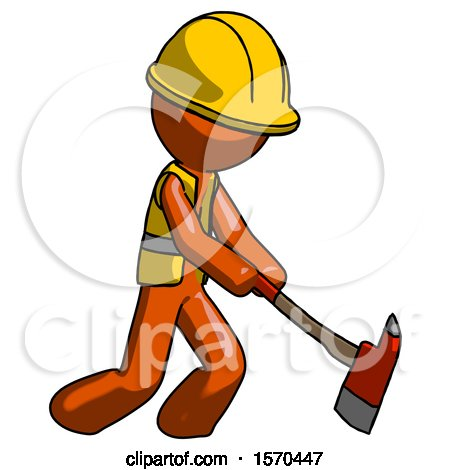 Orange Construction Worker Contractor Man Striking with a Red Firefighter's Ax by Leo Blanchette