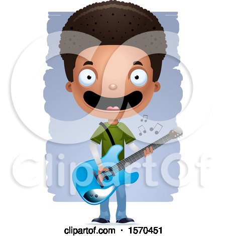Clipart of a Black Teen Boy Playing a Guitar - Royalty Free Vector Illustration by Cory Thoman