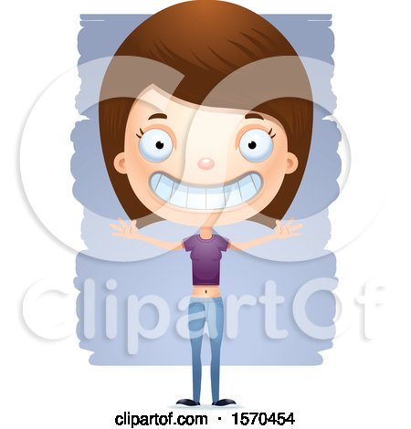 Clipart of a Happy White Teen Girl - Royalty Free Vector Illustration by Cory Thoman