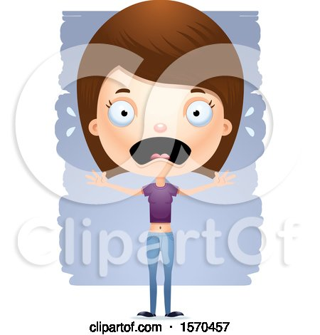 Clipart of a Scared White Teen Girl - Royalty Free Vector Illustration by Cory Thoman