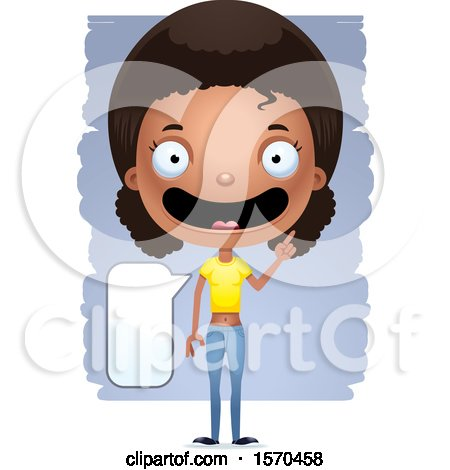 Clipart of a Smart Talking Black Teen Girl - Royalty Free Vector Illustration by Cory Thoman