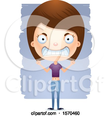 Clipart of a Mad White Teen Girl - Royalty Free Vector Illustration by Cory Thoman