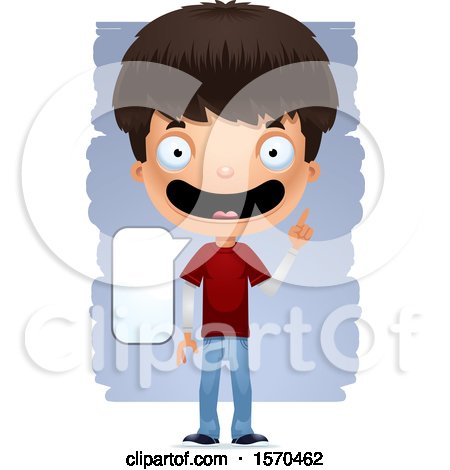 Clipart of a Smart Talking Hispanic Teen Boy - Royalty Free Vector Illustration by Cory Thoman