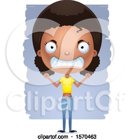 Clipart of a Mad Black Teen Girl - Royalty Free Vector Illustration by Cory Thoman