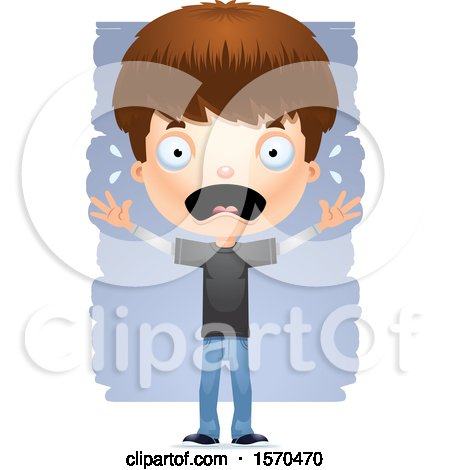 Clipart of a Scared White Teen Boy - Royalty Free Vector Illustration by Cory Thoman