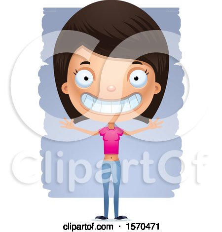 Clipart of a Happy Hispanic Teen Girl - Royalty Free Vector Illustration by Cory Thoman