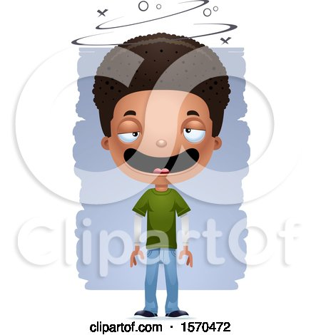 Clipart of a Drunk Black Teen Boy - Royalty Free Vector Illustration by Cory Thoman