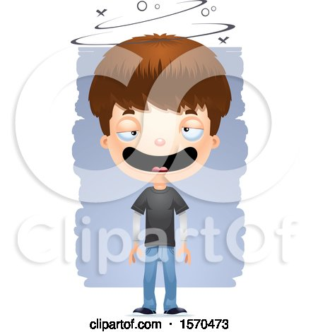 Clipart of a Drunk White Teen Boy - Royalty Free Vector Illustration by Cory Thoman
