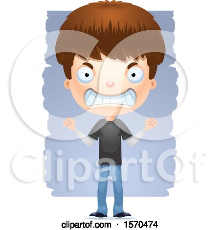 Clipart of a Mad White Teen Boy - Royalty Free Vector Illustration by Cory Thoman