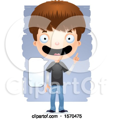 Clipart of a Smart Talking White Teen Boy - Royalty Free Vector Illustration by Cory Thoman