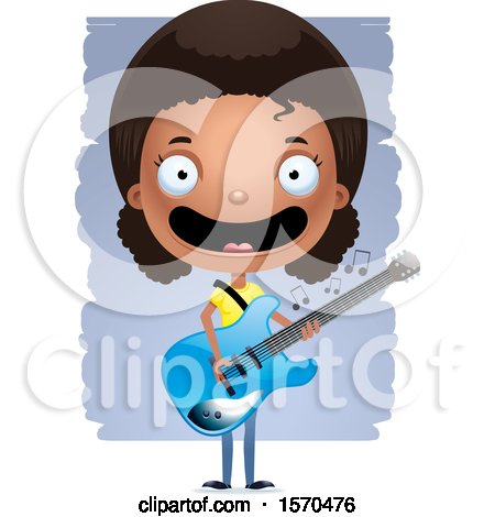 Clipart of a Black Teen Girl Playing a Guitar - Royalty Free Vector Illustration by Cory Thoman
