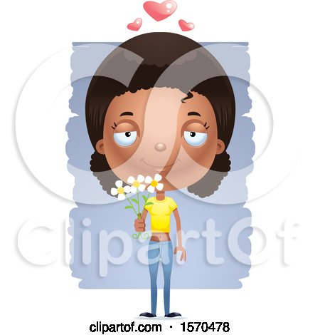 Clipart of a Romantic Black Teen Girl - Royalty Free Vector Illustration by Cory Thoman