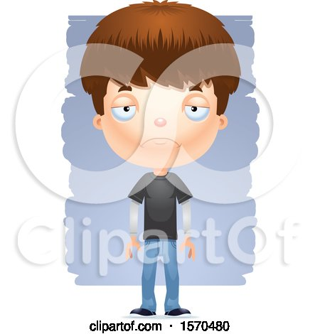 Clipart of a Depressed White Teen Boy - Royalty Free Vector Illustration by Cory Thoman
