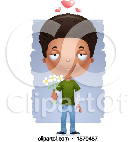 Clipart of a Romantic Black Teen Boy - Royalty Free Vector Illustration by Cory Thoman