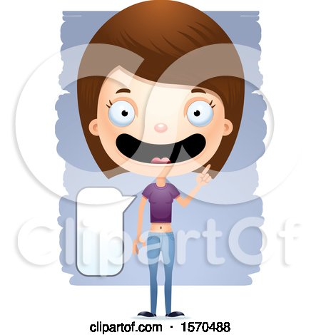 Clipart of a Smart Talking White Teen Girl - Royalty Free Vector Illustration by Cory Thoman