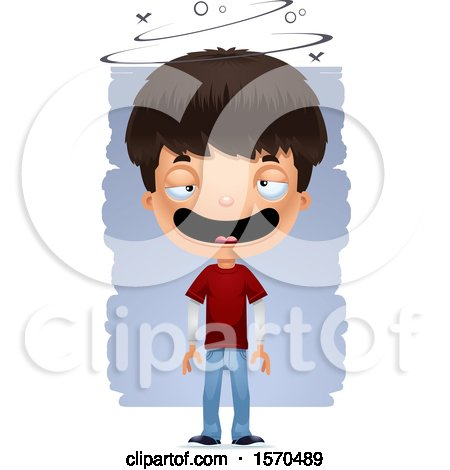 Clipart of a Drunk Hispanic Teen Boy - Royalty Free Vector Illustration by Cory Thoman