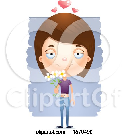 Clipart of a Romantic White Teen Girl - Royalty Free Vector Illustration by Cory Thoman