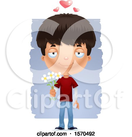 Clipart of a Romantic Hispanic Teen Boy - Royalty Free Vector Illustration by Cory Thoman