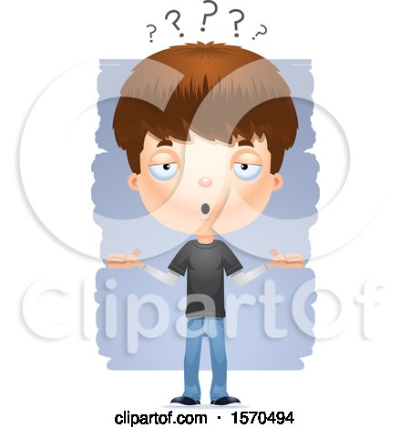 Clipart of a Careless Shrugging White Teen Boy - Royalty Free Vector Illustration by Cory Thoman