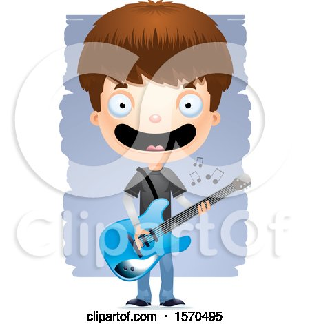 Clipart of a White Teen Boy Playing a Guitar - Royalty Free Vector Illustration by Cory Thoman