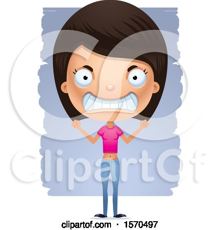 Clipart of a Mad Hispanic Teen Girl - Royalty Free Vector Illustration by Cory Thoman