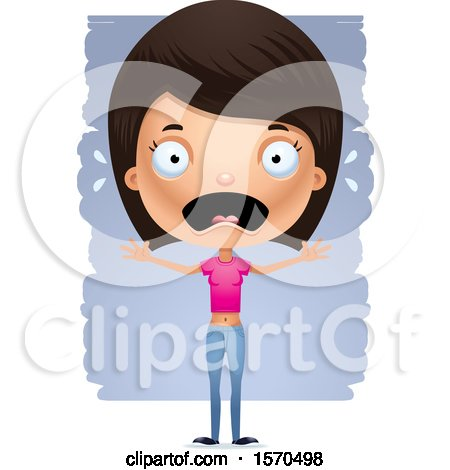 Clipart of a Scared Hispanic Teen Girl - Royalty Free Vector Illustration by Cory Thoman