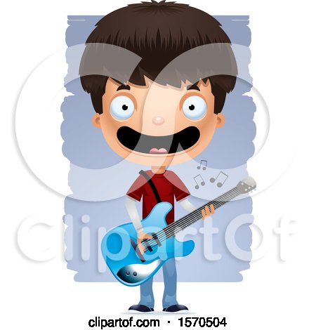 Clipart of a Hispanic Teen Boy Playing a Guitar - Royalty Free Vector Illustration by Cory Thoman