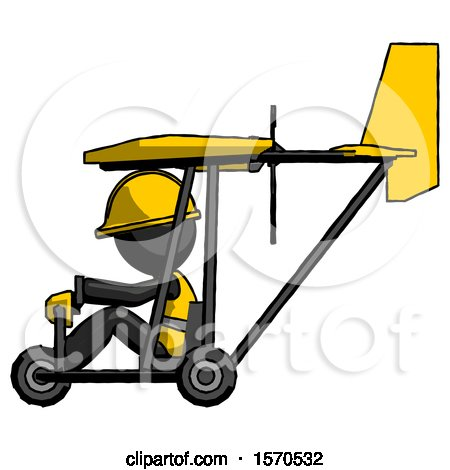Black Construction Worker Contractor Man in Ultralight Aircraft Side View by Leo Blanchette