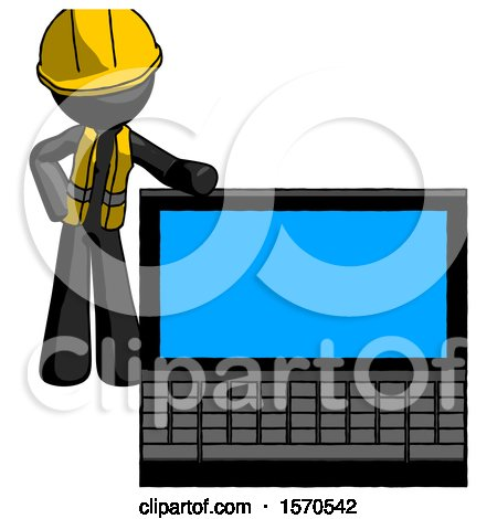 Black Construction Worker Contractor Man Beside Large Laptop Computer, Leaning Against It by Leo Blanchette