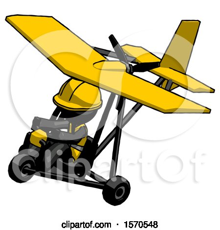 Black Construction Worker Contractor Man in Ultralight Aircraft Top Side View by Leo Blanchette
