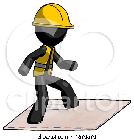 Black Construction Worker Contractor Man on Postage Envelope Surfing by Leo Blanchette
