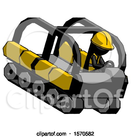 Black Construction Worker Contractor Man Driving Amphibious Tracked Vehicle Top Angle View by Leo Blanchette