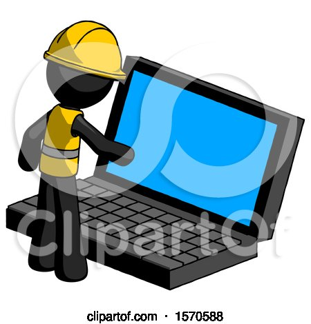 Black Construction Worker Contractor Man Using Large Laptop Computer by Leo Blanchette