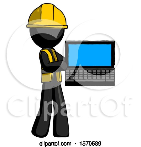 Black Construction Worker Contractor Man Holding Laptop Computer Presenting Something on Screen by Leo Blanchette