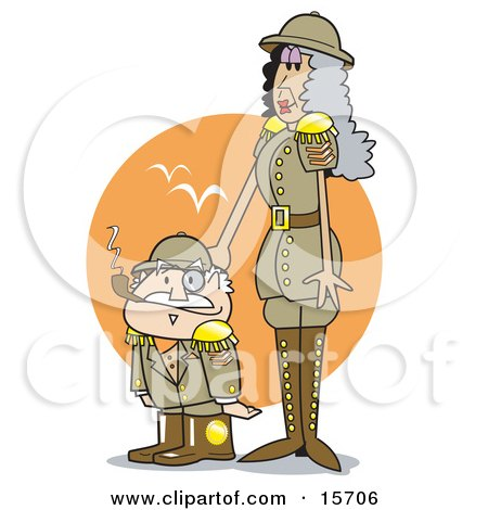 Tall Woman Taping Her Short Husband's Head While In Uniform On Safari Clipart Illustration by Andy Nortnik