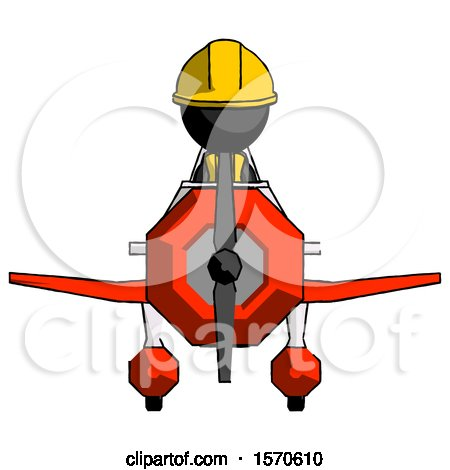 Black Construction Worker Contractor Man in Geebee Stunt Plane Front View by Leo Blanchette