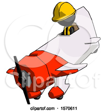 Black Construction Worker Contractor Man in Geebee Stunt Plane Descending View by Leo Blanchette