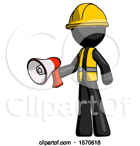 Black Construction Worker Contractor Man Holding Megaphone Bullhorn Facing Right by Leo Blanchette