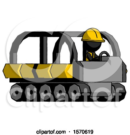 Black Construction Worker Contractor Man Driving Amphibious Tracked Vehicle Side Angle View by Leo Blanchette