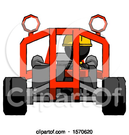 Black Construction Worker Contractor Man Riding Sports Buggy Front View by Leo Blanchette