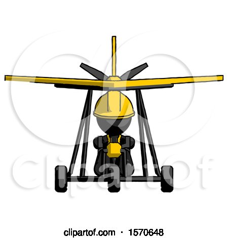 Black Construction Worker Contractor Man in Ultralight Aircraft Front View by Leo Blanchette
