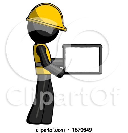 Black Construction Worker Contractor Man Show Tablet Device Computer to Viewer, Blank Area by Leo Blanchette