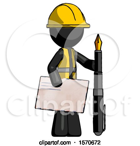 Black Construction Worker Contractor Man Holding Large Envelope and Calligraphy Pen by Leo Blanchette
