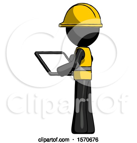 Black Construction Worker Contractor Man Looking at Tablet Device Computer with Back to Viewer by Leo Blanchette