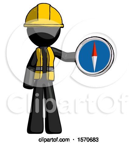 Black Construction Worker Contractor Man Holding a Large Compass by Leo Blanchette