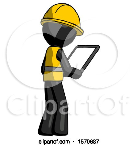 Black Construction Worker Contractor Man Looking at Tablet Device Computer Facing Away by Leo Blanchette