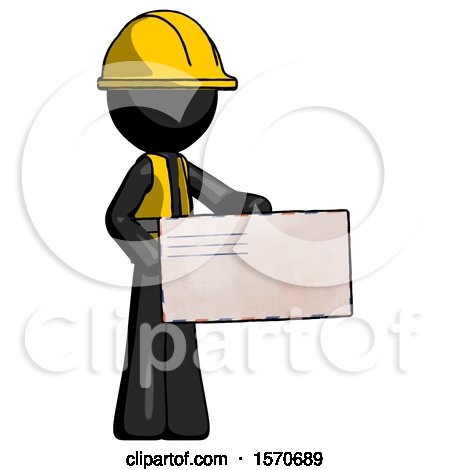 Black Construction Worker Contractor Man Presenting Large Envelope by Leo Blanchette