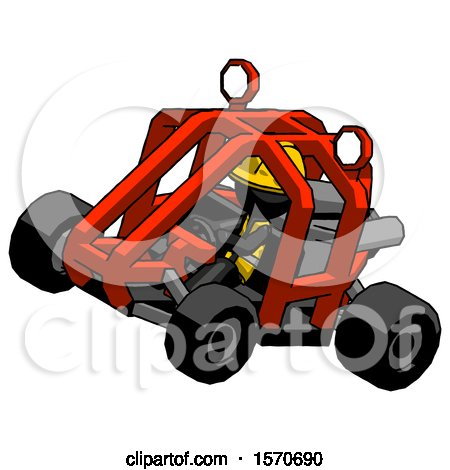 Black Construction Worker Contractor Man Riding Sports Buggy Side Top Angle View by Leo Blanchette
