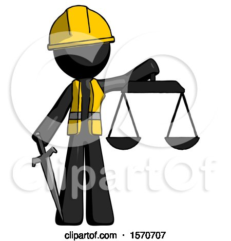 Black Construction Worker Contractor Man Justice Concept with Scales and Sword, Justicia Derived by Leo Blanchette