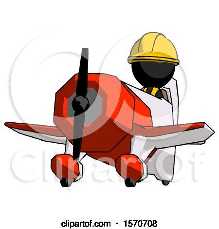Black Construction Worker Contractor Man Flying in Geebee Stunt Plane Viewed from Below by Leo Blanchette